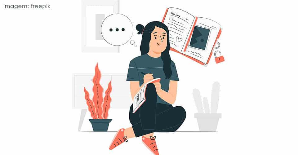 Anotar pensamentos e detalhes do dia a dia em um caderno é um recurso utilizado pela terapia para promover bem-estar.